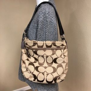 Coach Signature Canvass Hobo Bag